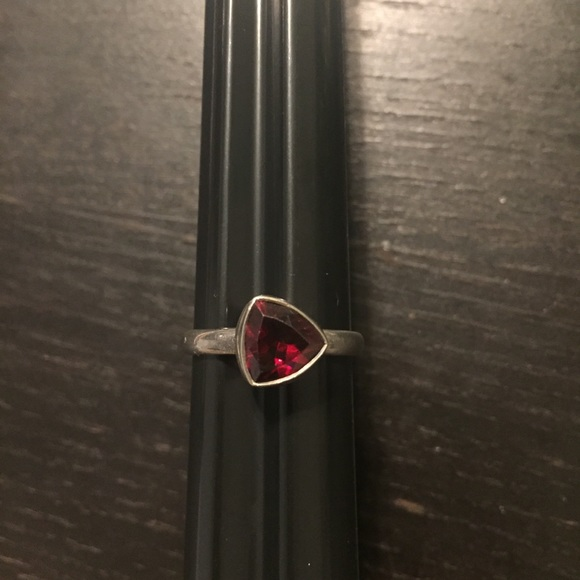 Sterling silver women's ring red stone 9 triangle